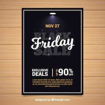 Modèle élégant d'affiche de vendredi noir
