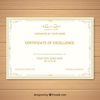 Modèle élégant en diplôme d'or
