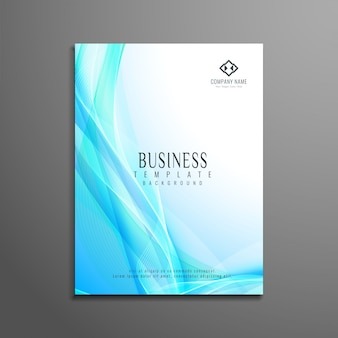 Modèle élégant et élégant de brochures commerciales ondulées bleues