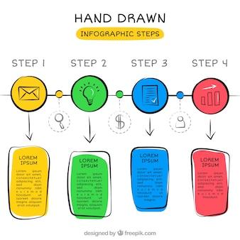 Modèle infographique amusant avec style dessiné à la main