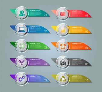 Modèle infographique avec couleurs vives