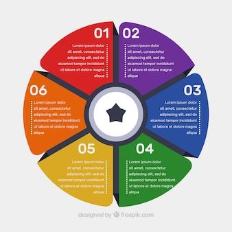 Modèle infographique circulaire coloré