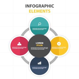 Modèle infographique commercial coloré abstrait