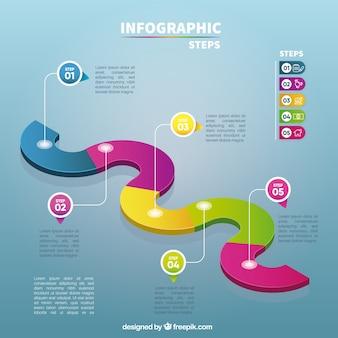 Modèle infographique créatif avec des étapes