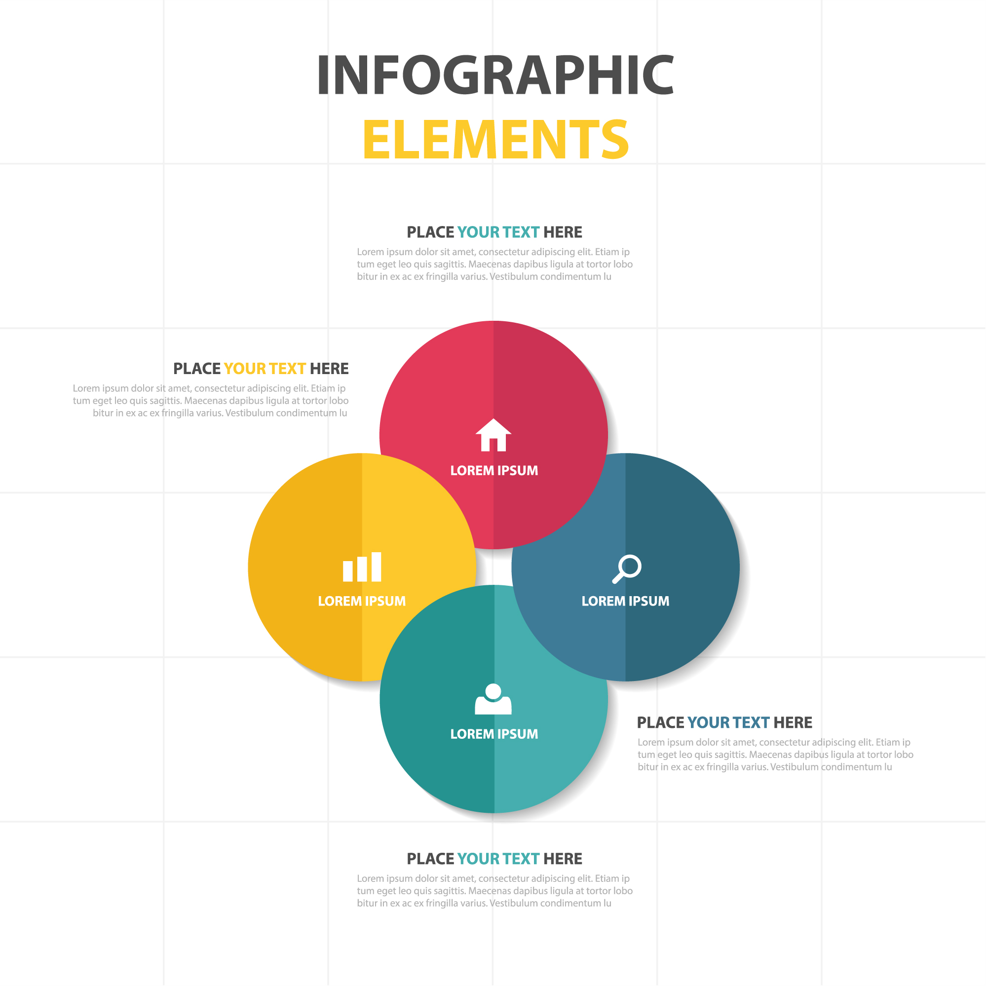 Modèle infographique de business circle circle abstrait