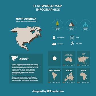 Modèle infographique de la carte mondiale