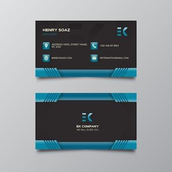 Modèle noir et bleu carte de visite