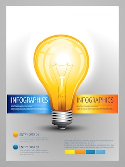 Modèle vectoriel infographique d'ampoule