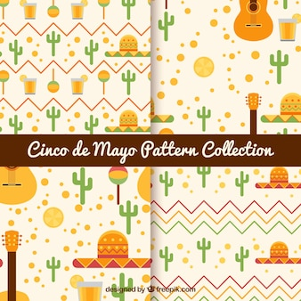 Modèles Cinco de Mayo avec des objets traditionnels plats