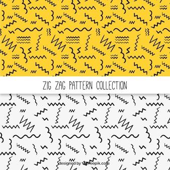 Modèles de lignes zig-zag dessinés à la main