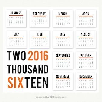 Moderne calendrier 2016