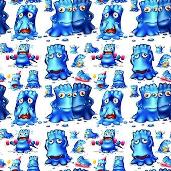 Monstre bleu sans faille faisant des activités