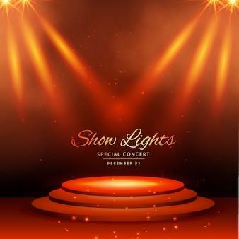 Montrer les lumières spot avec un fond de podium