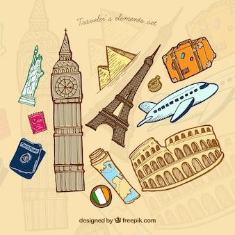 Monuments du monde dessinés à la main