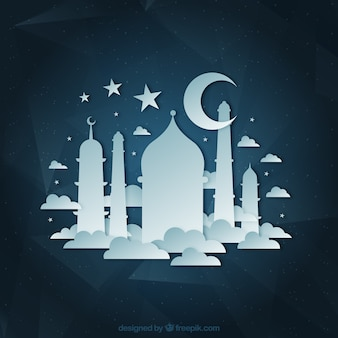Mosquée et croissant de lune