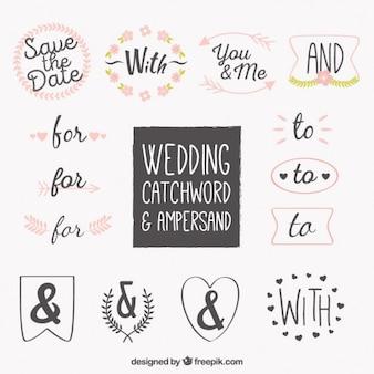 Mot de mariage et collection de symboles