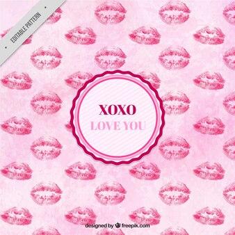 Motif aquarelle d'amour de baisers