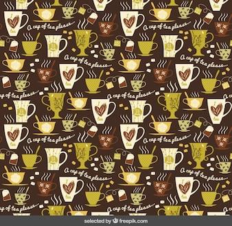 Motif avec des tasses de thé