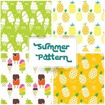 Motif d'été avec Pineaple et la crème glacée