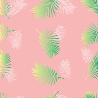 Motif de feuille de palmier vert transparent sur fond rose