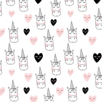 Motif de licorne avec des coeurs