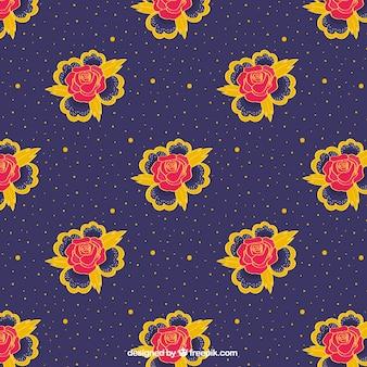 Motif décoratif des roses et des points jaunes