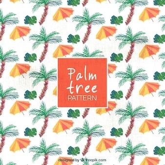Motif des palmiers et des parapluies aquarelles