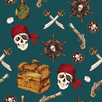 Motif fantastique avec des éléments de pirates