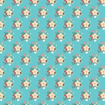 Motif floral sur fond bleu