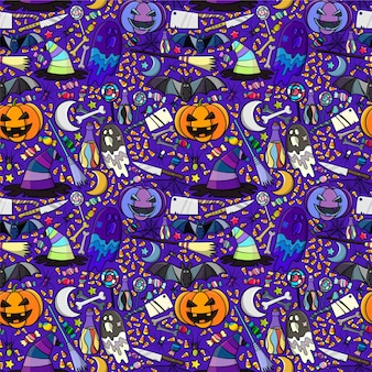 Motif sans soudure Halloween. Résumé de l'arrière-plan dessiné à la main.