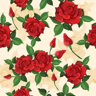 Motif transparent de roses