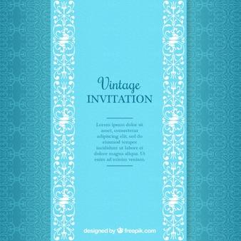 Motif vintage bleu d'invitation de mariage