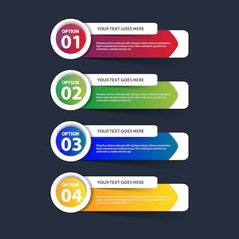 Multicolor infographique avec des étapes