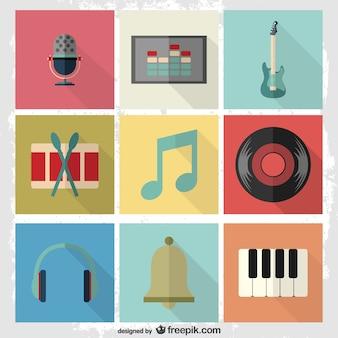 Musique pictogrammes plats fixés