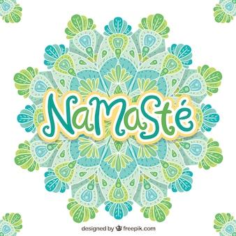 Namaste fond avec mandala dessiné à la main