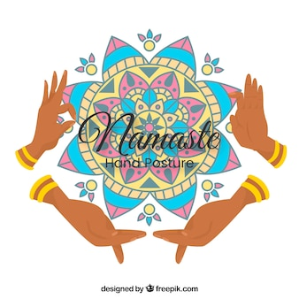 Namaste fond avec mandala