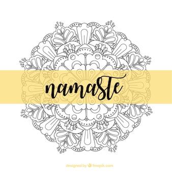 Namaste fond décoratif avec mandala dessiné à la main