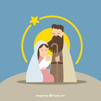 Nativité fond de scène avec étoile jaune