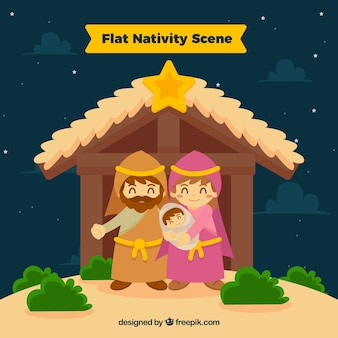 Nativité plat scène fond
