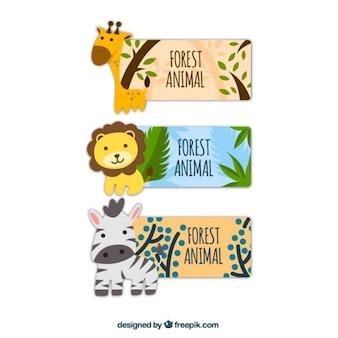 Nature mignon étiquettes avec des animaux de la forêt