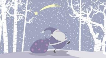 Neige de Noël Vector Illustration avec le Père Noël