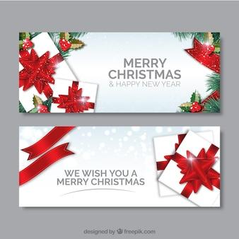 Noël blanc cadeaux bannières