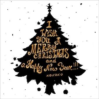 Noël carte grungy avec des arbres de pin et devis