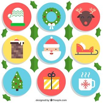 Noël éléments plats Icon Set