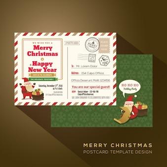 Noël et Bonne Nouvelle carte postale année par avion de vacances
