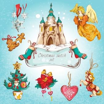 Noël, nouvel an, vacances, croquis, décoratif, icônes, coloré, ensemble, isolé, vecteur, illustration