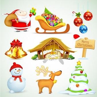 Noël stlyish éléments de conception vecteur ensemble