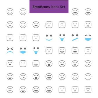 Noir et bleu Emoji icônes Set