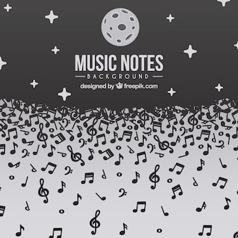 Notes musicales de fond design de nuit