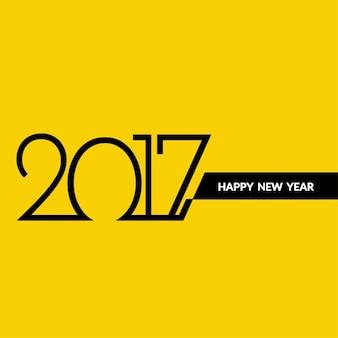 Nouvel an 2017 conception de texte sur fond jaune